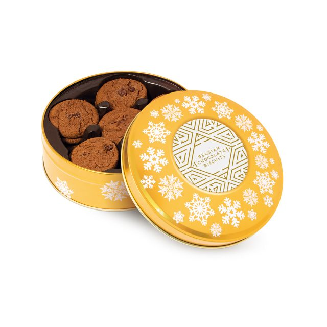 Winter Collection – Share Tin – Belgian Chocolate Cookies – Gold