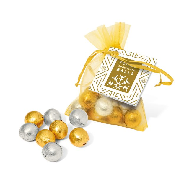 Winter Collection – Organza Bag – Foiled Chocolate Balls