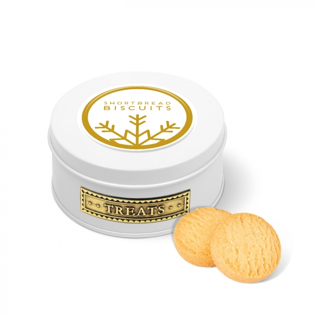 Winter Collection – Treat Tin – Mini Shortbread Biscuits – White