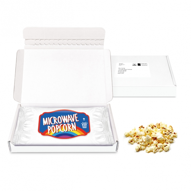 Postal Packs – Mini White Postal Box – Microwave Popcorn – PAPER LABEL