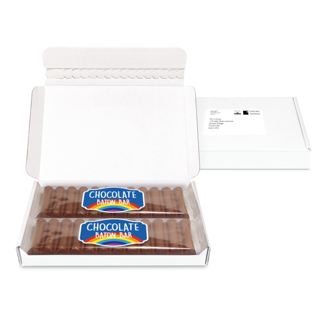 Postal Packs – Mini White Postal Box – 12 Baton Bars – PAPER LABEL